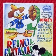 Flyers Publicitaires de films Anciens: PROGRAMA. REINO DE FANTASÍAS. WALT DISNEY. EXCLUSIVAS ARAJOL. AÑOS 30.. Lote 199751645