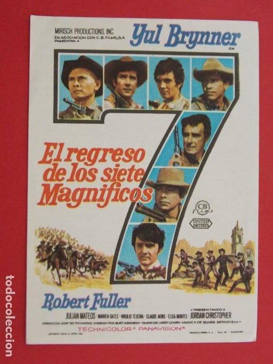 EL REGRESO DE LOS 7 MAGNIFICOS - AÑO 1966 - FOLLETO - PROGRAMA CINE - YUL BRYNNER ... L677 (Cine - Folletos de Mano - Westerns)