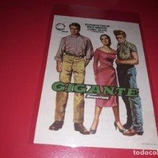 Cine: GIGANTE CON JAMES DEAN, ROCK HUDSON Y ELIZABETH TAYLOR. PUBLICIDAD AL DORSO. AÑO 1956. Lote 200047472