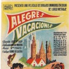 Cine: PROGRAMA DE CINE - ALEGRES VACACIONES - PELÍCULA DE ANIMACIÓN - MONUMENTAL CINEMA (MELILLA) - 1949.. Lote 200096141