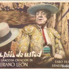 Folhetos de mão de filmes antigos de cinema: PROGRAMA DE CINE - A LOS PIES DE USTED - VALERIANO LEÓN - CINE VICTORIA (MÁLAGA) - 1945.. Lote 200114963