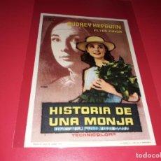 Cine: HISTORIA DE UNA MONJA CON AUDREY HEPBURN . PUBLICIDAD AL DORSO. AÑO 1959.. Lote 200137005