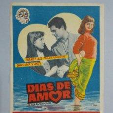 Cine: DIAS DE AMOR - AÑO 1956 - FOLLETO - PROGRAMA CINE - MARCELLO MASTROIANNI ..L699. Lote 200139330
