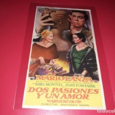 Cine: DOS PASIONES Y UN AMOR CON MARIO LANZA Y SARA MONTIEL. PUBLICIDAD AL DORSO. AÑO 1956.. Lote 200139505