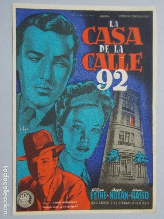 LA CASA DE LA CALLE 92 - AÑO 1945 - FOLLETO - PROGRAMA CINE - WILLIAM EYTHE ..L701 (Cine - Folletos de Mano - Suspense)