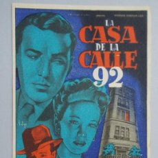 Cine: LA CASA DE LA CALLE 92 - AÑO 1945 - FOLLETO - PROGRAMA CINE - WILLIAM EYTHE ..L701. Lote 200140181