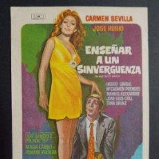 Cine: ENSEÑAR A UN SINVERGUENZA - AÑO 1970 - FOLLETO - PROGRAMA CINE - CARMEN SEVILLA ..L706. Lote 200142001