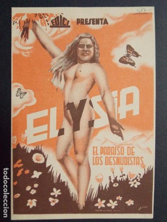 ELYSIA , PARAISO DE LOS DESNUDISTAS - AÑO 1934 - FOLLETO - PROGRAMA CINE - MEDIDAS 9X14 CM ..L714 (Cine - Folletos de Mano - Documentales)