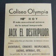 Cine: JACK EL DESTRIPADOR - AÑO 1945 - FOLLETO - PROGRAMA CINE CON PUBLICIDAD - COLISEO OLYMPIA .. L728. Lote 200157696