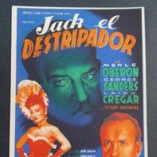 Cine: JACK EL DESTRIPADOR - AÑO 1945 - FOLLETO - PROGRAMA CINE CON PUBLICIDAD - COLISEO OLYMPIA .. L729. Lote 200157791