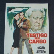 Cine: TESTIGO DE CARGO - AÑO 1957 - FOLLETO - PROGRAMA CINE - DIBUJANTE JANO .. L731. Lote 200158885