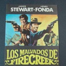 Cine: LOS MALVADOS DE FIRECREEK - AÑO 1969 - FOLLETO - PROGRAMA CINE - JAMES SEWART , HENRY FONDA .. L734. Lote 200159555