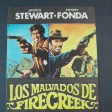 Cine: LOS MALVADOS DE FIRECREEK - AÑO 1969 - FOLLETO - PROGRAMA CINE - JAMES SEWART , HENRY FONDA .. L735. Lote 200159650