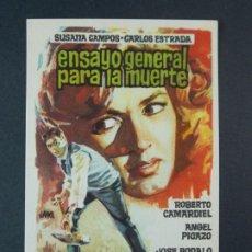 Cine: ENSAYO GENERAL PARA LA MUERTE - AÑO 1962 - FOLLETO - PROGRAMA CINE - DIBUJANTE JANO .. L736. Lote 200160113