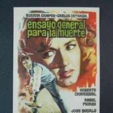Cine: ENSAYO GENERAL PARA LA MUERTE - AÑO 1962 - FOLLETO - PROGRAMA CINE - DIBUJANTE JANO .. L737. Lote 200160170