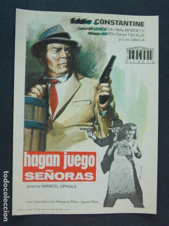 HAGAN JUEGO SEÑORAS - AÑO 1965 - FOLLETO - PROGRAMA CINE - EDDIE CONSTANTINE .. L754 (Cine - Folletos de Mano - Acción)