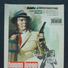 Cine: HAGAN JUEGO SEÑORAS - AÑO 1965 - FOLLETO - PROGRAMA CINE - EDDIE CONSTANTINE .. L755. Lote 200164685