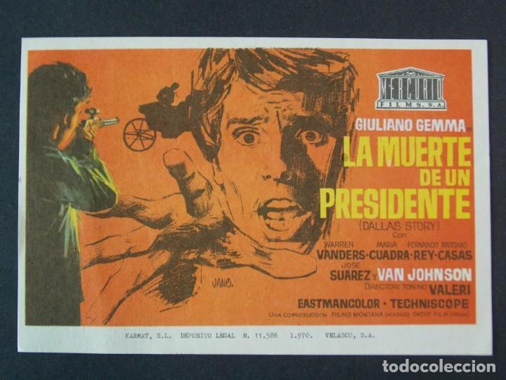 LA MUERTE DE UN PRESIDENTE - AÑO 1970 - FOLLETO - PROGRAMA CINE - VAN JOHNSON - DIBUJANTE JANO .L756 (Cine - Folletos de Mano - Acción)