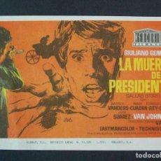 Cine: LA MUERTE DE UN PRESIDENTE - AÑO 1970 - FOLLETO - PROGRAMA CINE - VAN JOHNSON - DIBUJANTE JANO .L756. Lote 200165093
