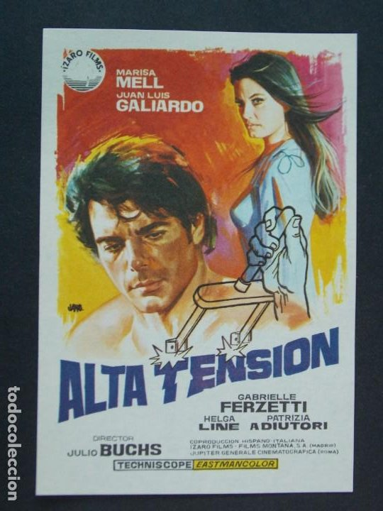 ALTA TENSION - AÑO 1972 - FOLLETO - PROGRAMA CINE - MARISA MELL - DIBUJANTE JANO ..L760 (Cine - Folletos de Mano - Acción)