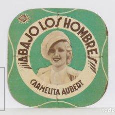 Folhetos de mão de filmes antigos de cinema: PROGRAMA DE CINE TROQUELADO - ¡ABAJO LOS HOMBRES! - CARMELITA AUBERT - FEBRER & BLAY, 1936. Lote 200243238