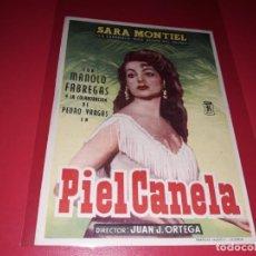 Folhetos de mão de filmes antigos de cinema: PIEL CANELA CON SARA MONTIEL. PUBLICIDAD AL DORSO. AÑO 1953.. Lote 200278241