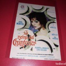 Folhetos de mão de filmes antigos de cinema: LA REINA DEL CHANTECLER CON SARA MONTIEL. PUBLICIDAD AL DORSO. AÑO 1962.. Lote 200288372