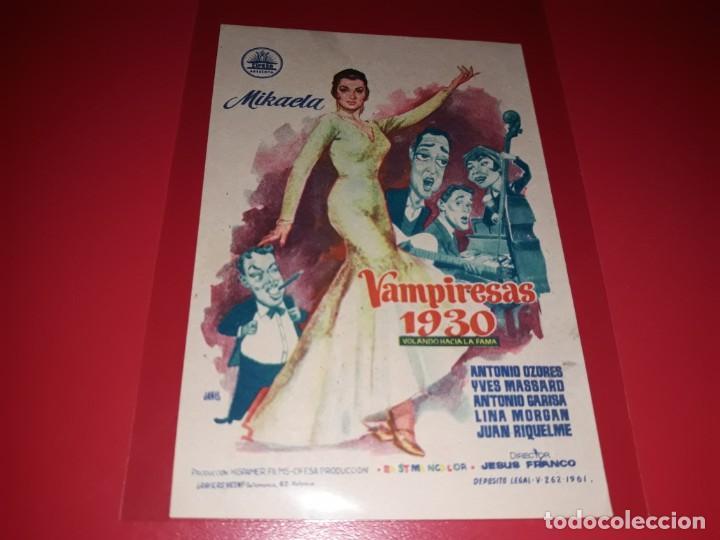 VAMPIRESAS 1930 CON ANTONIO OZORES Y LINA MORGAN. PUBLICIDAD AL DORSO. AÑO 1962. (Cine - Folletos de Mano - Clásico Español)