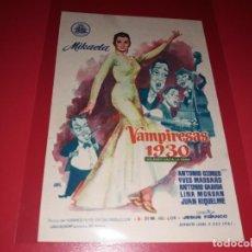 Cine: VAMPIRESAS 1930 CON ANTONIO OZORES Y LINA MORGAN. PUBLICIDAD AL DORSO. AÑO 1962.. Lote 200370193