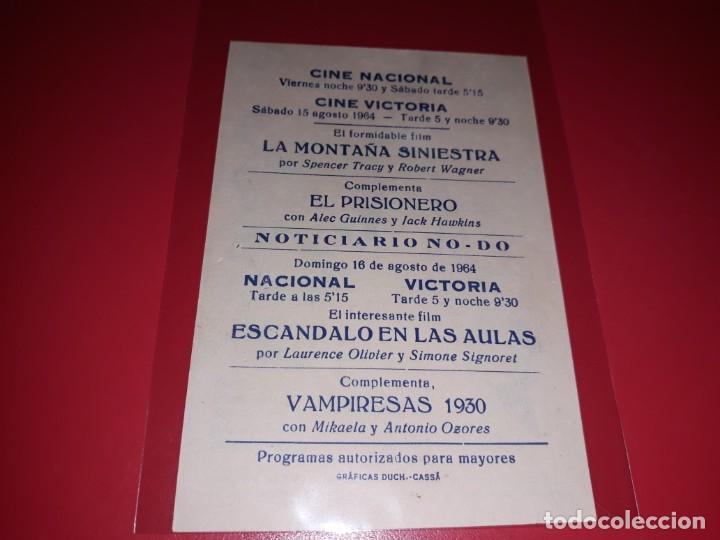 Cine: Vampiresas 1930 con Antonio Ozores y Lina MOrgan. Publicidad al dorso. Año 1962. - Foto 2 - 200370193