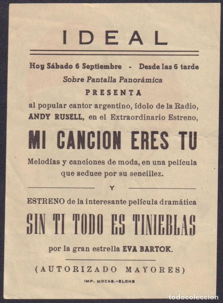 Cine: Programa sencillo de MI CANCIÓN ERES TÚ (1956) - Ideal Cinema de Elche - Foto 2 - 200549045