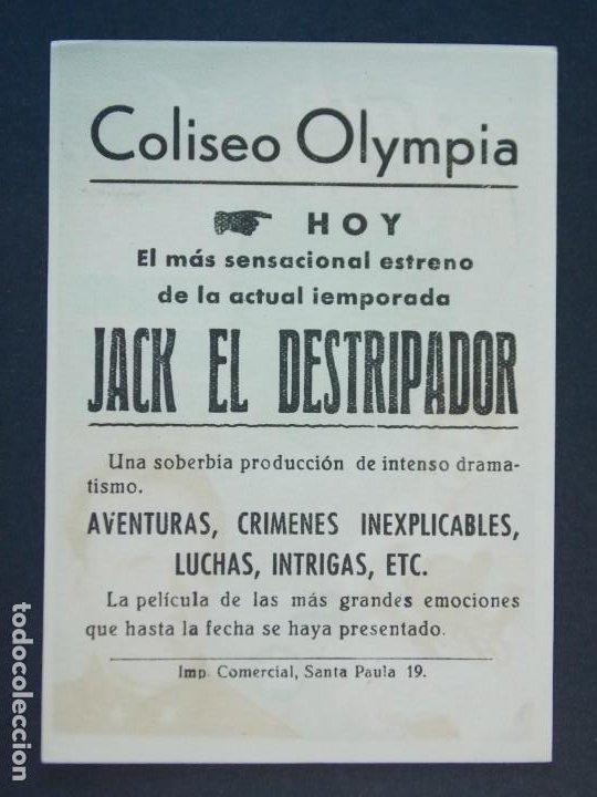 JACK EL DESTRIPADOR - AÑO 1945 - FOLLETO - PROGRAMA CINE CON PUBLICIDAD - COLISEO OLYMPIA ..L802 (Cine - Folletos de Mano - Terror)