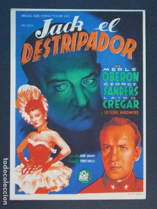 Cine: JACK EL DESTRIPADOR - AÑO 1945 - FOLLETO - PROGRAMA CINE CON PUBLICIDAD - COLISEO OLYMPIA ..L802 - Foto 2 - 200890753