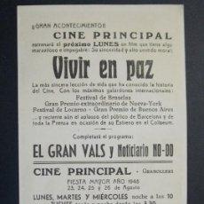 Cine: VIVIR EN PAZ - AÑO 1949 - FOLLETO - PROGRAMA CINE - CINE PRINCIPAL, GRANOLLERS - BARCELONA - ..L856. Lote 201140550