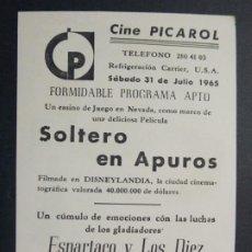 Cine: SOLTERO EN APUROS - AÑO 1963 - FOLLETO - PROGRAMA CINE - CINE PICAROL, BADALONA - ..L857. Lote 201141790