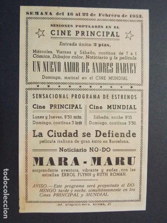 LA CIUDAD SE DEFIENDE - AÑO 1953 - FOLLETO - PROGRAMA CINE - CINE PRINCIPAL, GRANOLLERS - ..L858 (Cine - Folletos de Mano - Acción)