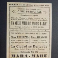 Cine: LA CIUDAD SE DEFIENDE - AÑO 1953 - FOLLETO - PROGRAMA CINE - CINE PRINCIPAL, GRANOLLERS - ..L858. Lote 201142175