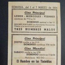 Cine: EL HOMBRE DE LAS TINIEBLAS - AÑO 1954 -FOLLETO - PROGRAMA CINE - CINE PRINCIPAL, GRANOLLERS - ..L859. Lote 201142416