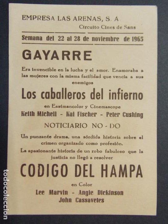 Cine: LOS CABALLEROS DEL INFIERNO - AÑO 1965 - FOLLETO - PROGRAMA CINE CIRCUITO DE CINES DE SANTS ..L867 - Foto 2 - 201145198
