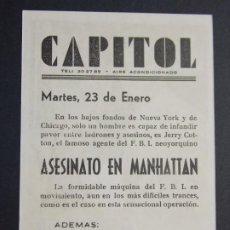Cine: ASESINATO EN MANHATTAN - AÑO 1967 - FOLLETO - PROGRAMA CINE CAPITOL - TARRAGONA ..L868. Lote 201145423