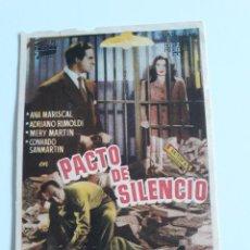 Cine: FOLLETO - PACTO DE SILENCIO CON ANA MARISCAL Y CONRADO SAN MARTIN. Lote 201598420