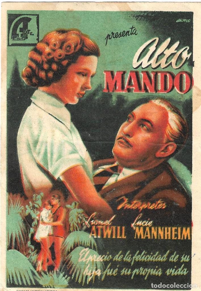 PN - PROGRAMA DE CINE - ALTO MANDO - LIONEL ATWILL - CINE GARCILASO (QUINTANAR DE LA ORDEN) - 1947. (Cine - Folletos de Mano - Drama)