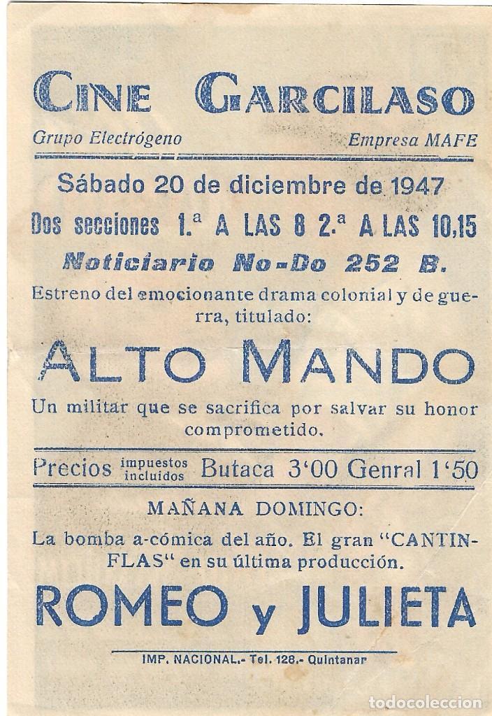 Cine: PN - PROGRAMA DE CINE - ALTO MANDO - LIONEL ATWILL - CINE GARCILASO (Quintanar de la Orden) - 1947. - Foto 2 - 201645306