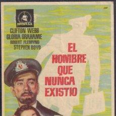 Cine: PROGRAMA SENCILLO DE EL HOMBRE QUE NUNCA EXISTIÓ (1956) - GRAN TEATRO DE ELCHE. Lote 201828131