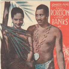 Cine: PN - PROGRAMA DOBLE - BOSAMBO - PAUL ROBESON - MONUMENTAL SALÓN MODERNO (ALICANTE) - 1939.. Lote 202394681
