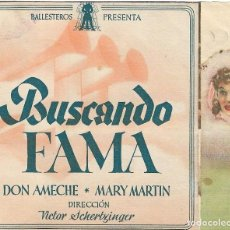 Flyers Publicitaires de films Anciens: PN - PROGRAMA DOBLE - BUSCANDO FAMA - DON AMECHE, MARY MARTIN - COLISEO OLYMPIA (MÁLAGA) - 1941.. Lote 202407922
