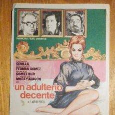 Cine: FOLLETO DE MANO CINE - PELÍCULA FILM - LARGOMETRAJE - UN ADULTERIO DECENTE. Lote 202481281