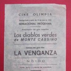 Cine: LOS DIABLOS VERDES DE MONTE CASINO - AÑO 1960 - FOLLETO - CINE OLIMPIA -LA BISBAL-EMPORDÀ...L889. Lote 202544417