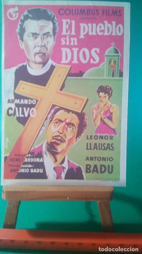 FOLLETO DE MANO EL PUEBLO SIN DIOS (ARMANDO CALVO - LEONOR LLAUSÁS - AGUSTÍN ISUNZA - JUAN ORRACA) (Cine - Folletos de Mano - Drama)