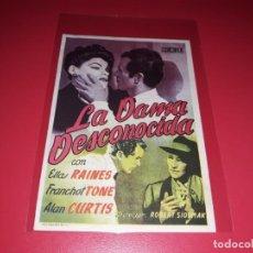 Cine: LA DAMA DESCONOCIDA. PUBLICIDAD AL DORSO. AÑO 1944. Lote 202592882